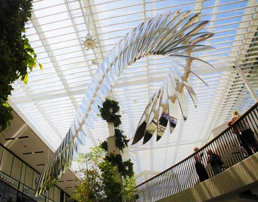 White Wash Surfboard Sculpture by Laura Enever Installed in Warringah Mall Sydney